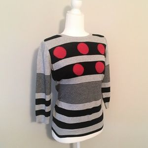 Joseph A. Button-Back Striped Sweater